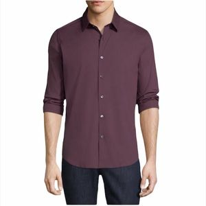 Theory Burgundy Wealth Sylvain Button Up Shirt